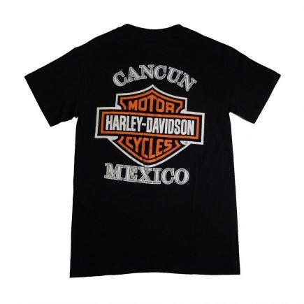 Cancun Mexico Harley Davidson Image Back of T Shirt