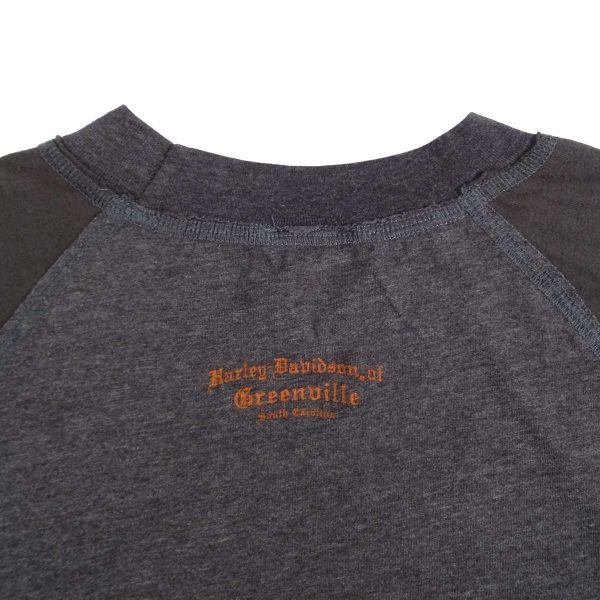 Greenville South Carolina Harley Davidson Long Sleeve T Shirt Back Collar Graphic