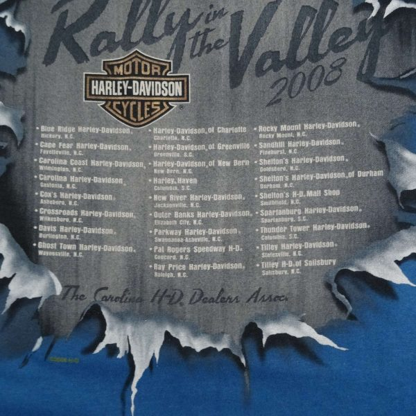 Maggie Valley NC Rally in the Valley 2008 Harley Davidson T Shirt Close Up Back Graphic