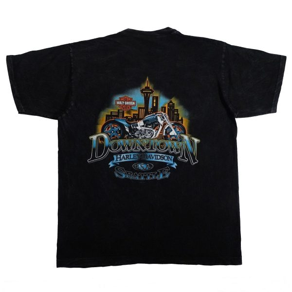 Seattle Washington Downtown Harley Davidson T Shirt Back