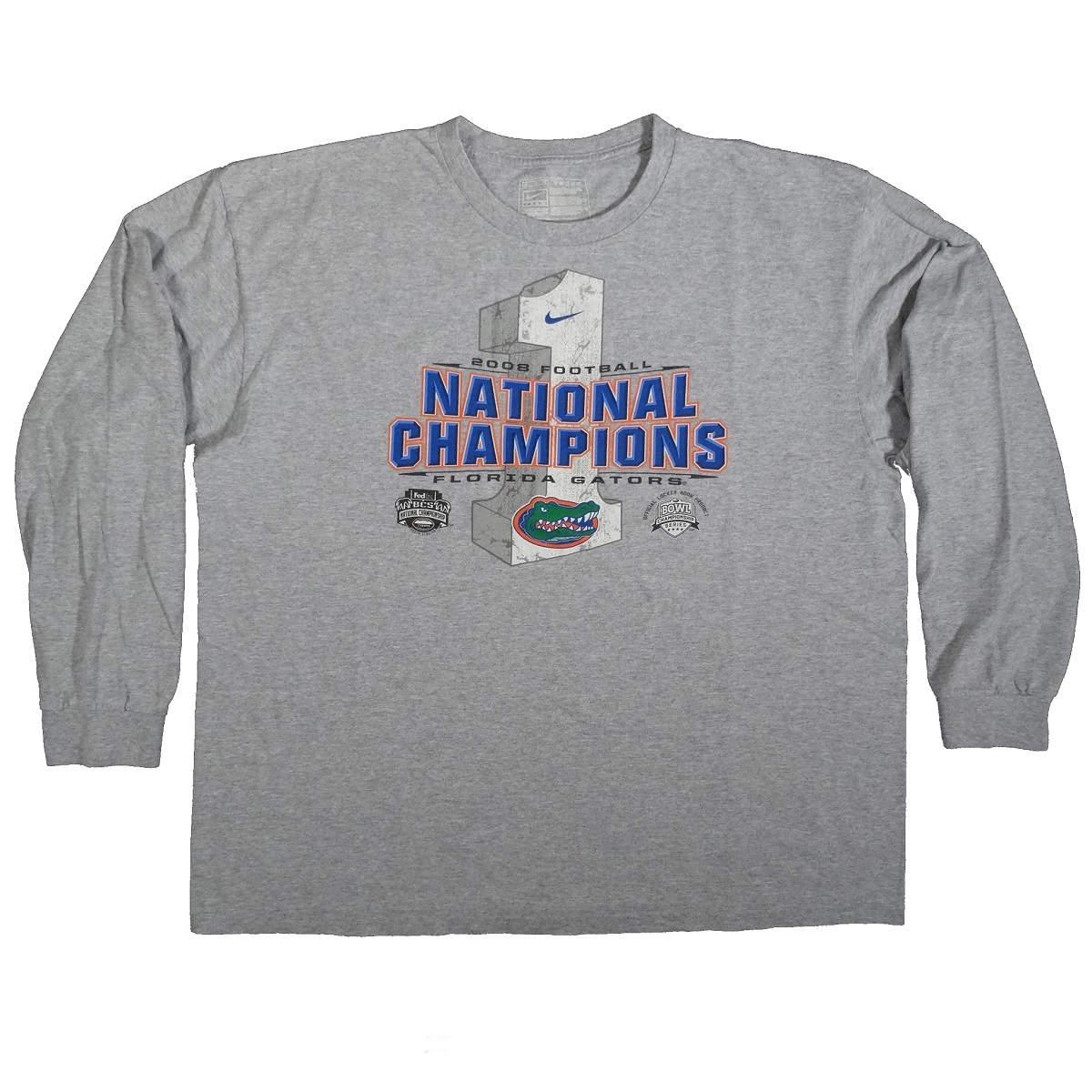 florida gators 2008 football national champions long sleeve nike t shirt front