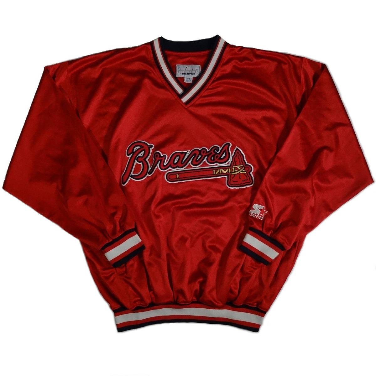 atlanta braves vintage starter jacket pullover front of jacket