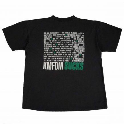 kmfdm sucks vintage 90s t shirt back of shirt