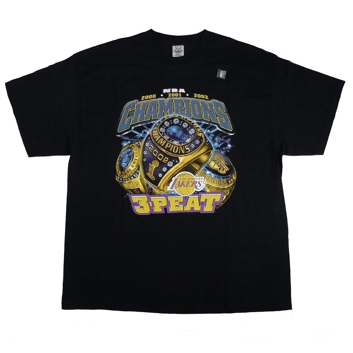 los angeles lakers 3 peat nba champions t shirt front of shirt