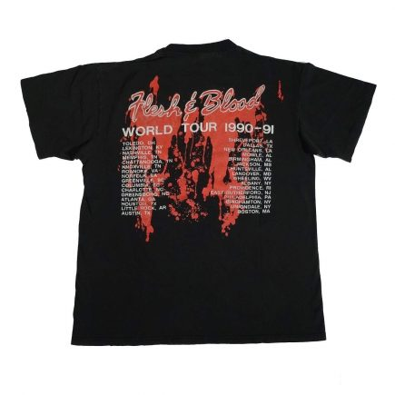 poison flesh & blood world tour vintage 90s concert t shirt back of shirt