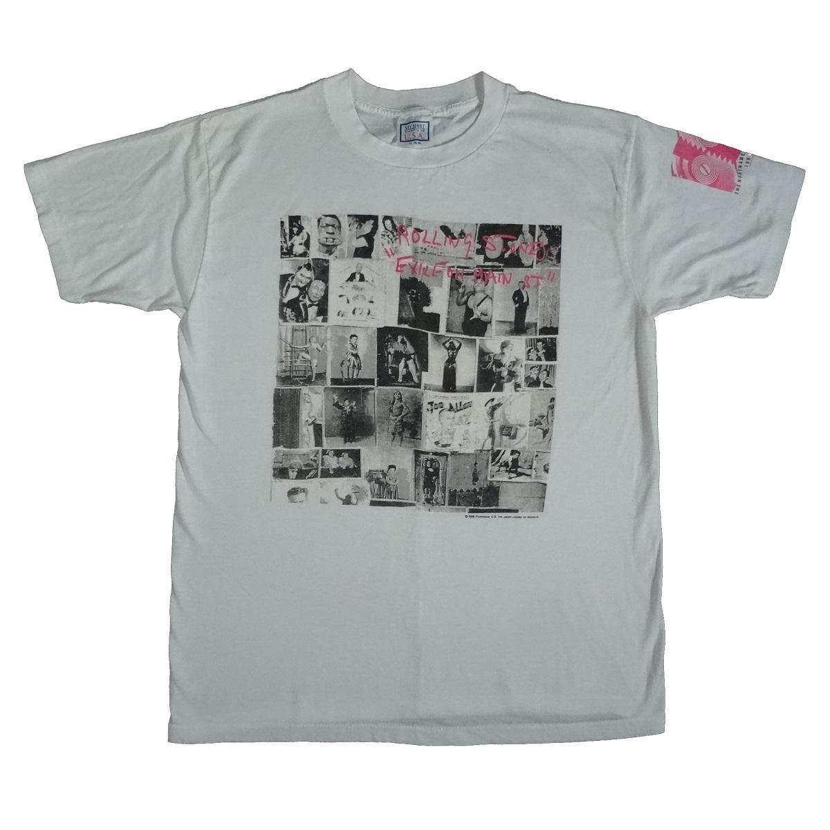 rolling stones exile on main street 1989 steel wheels vintage concert t shirt front of shirt