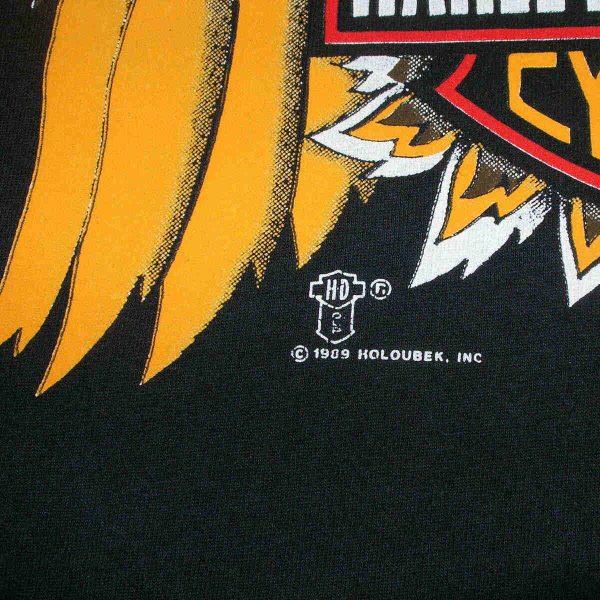vintage 80s harley davidson eagle holoubek t shirt year date