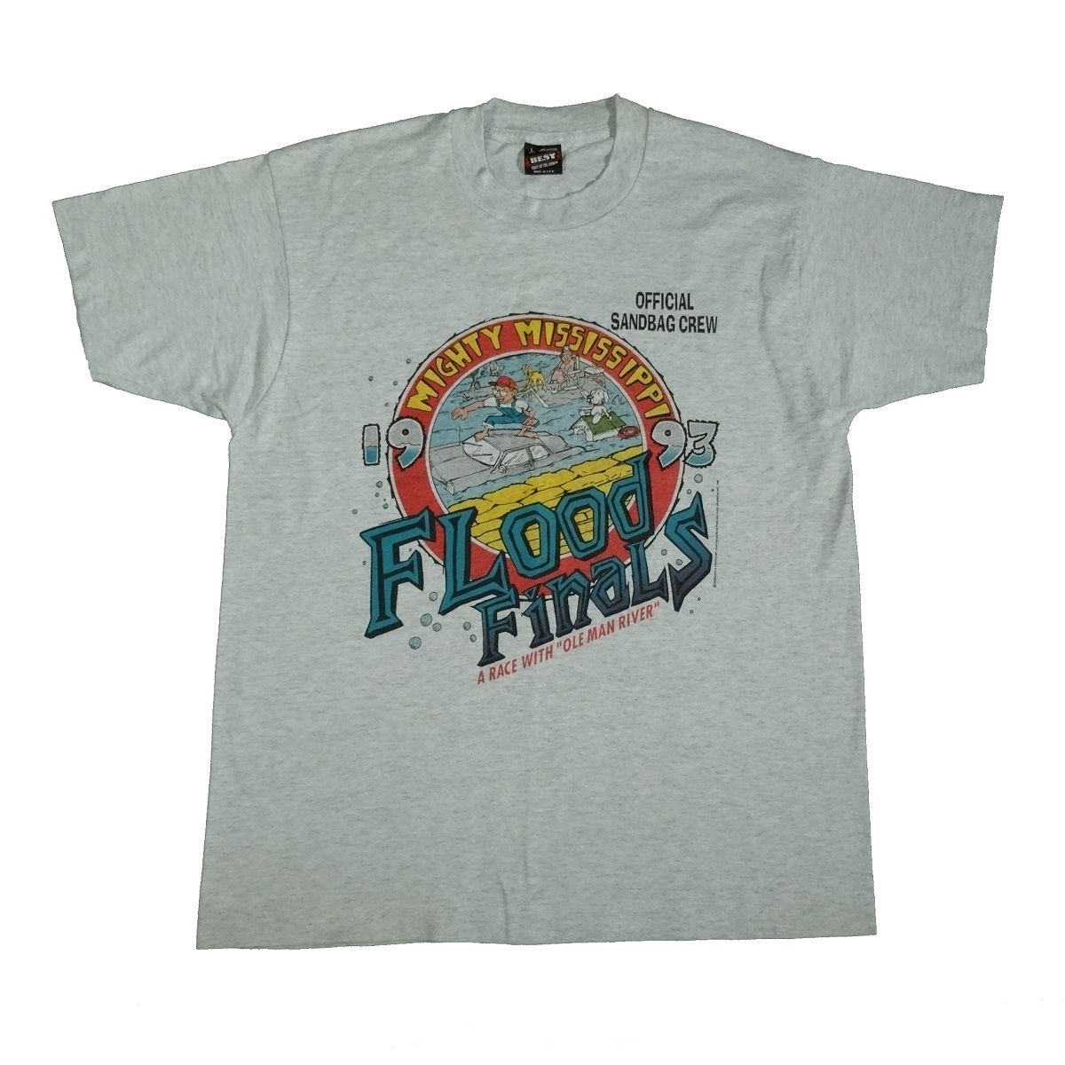 great flood of 1993 mississippi river vintage t shirt front of shirt