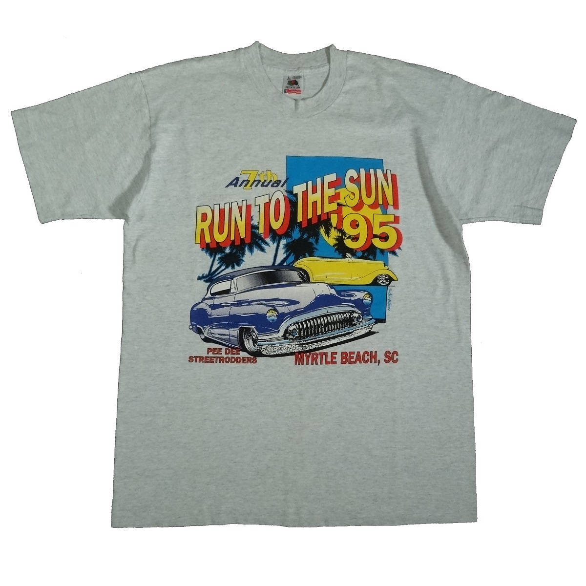 run to the sun car show 1995 myrtle beach vintage t shirt front of shirt