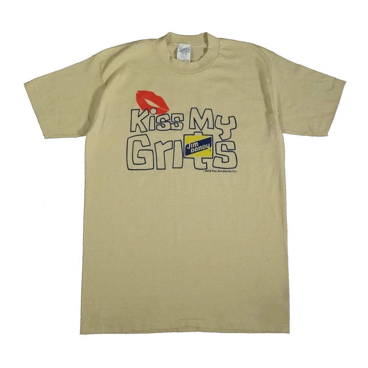 kiss my grits jim dandy vintage 70s t shirt front of shirt