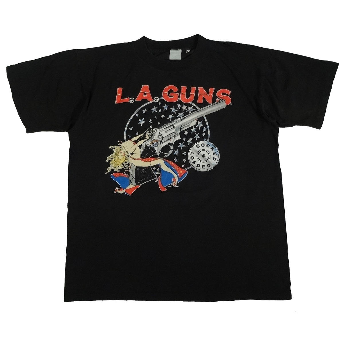 la guns cocked & loaded 1989 vintage 80s t shirt front of shirt