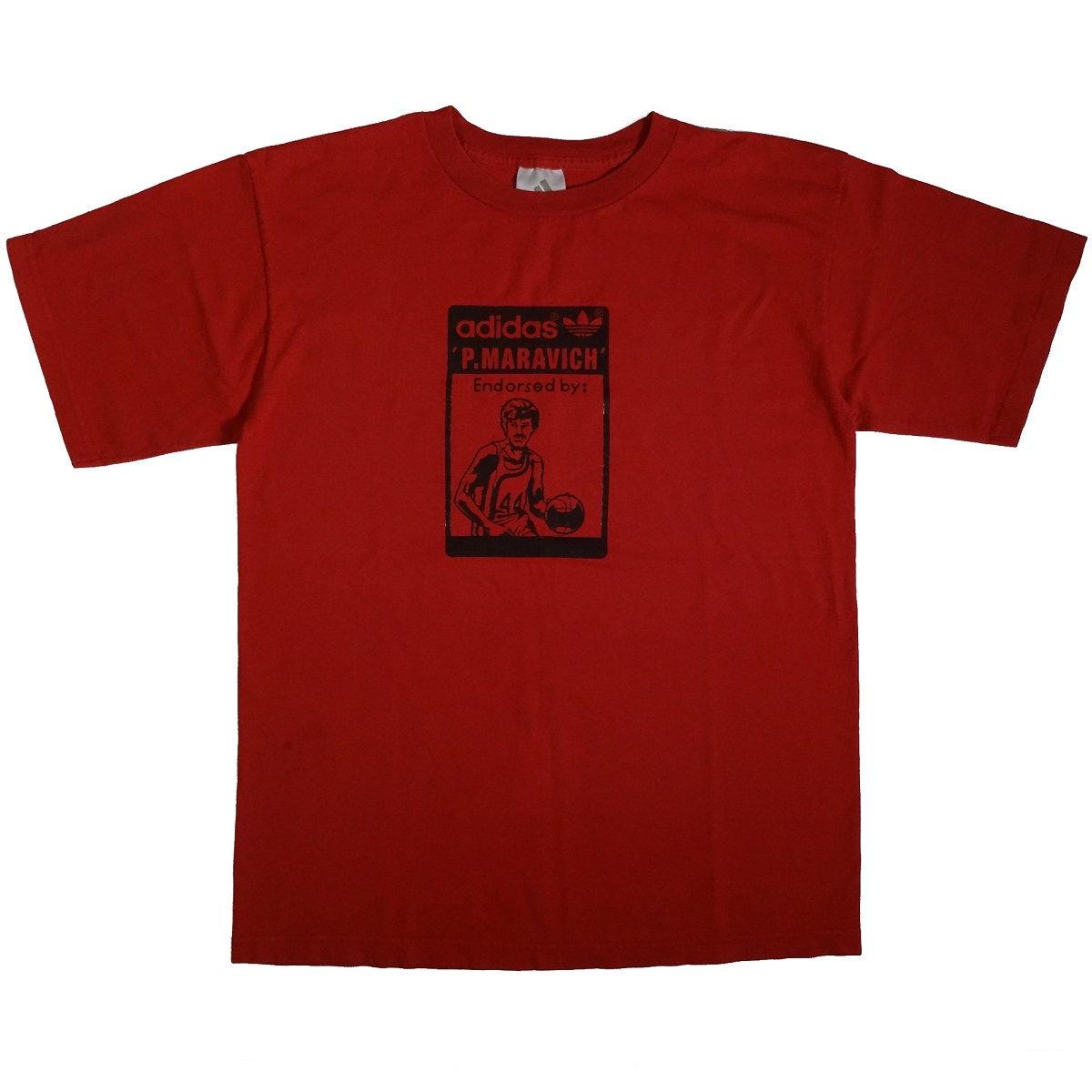 pistol pete maravich vintage adidas shirt front of shirt