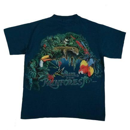 rainforest habitat vintage 90s t shirt back of shirt