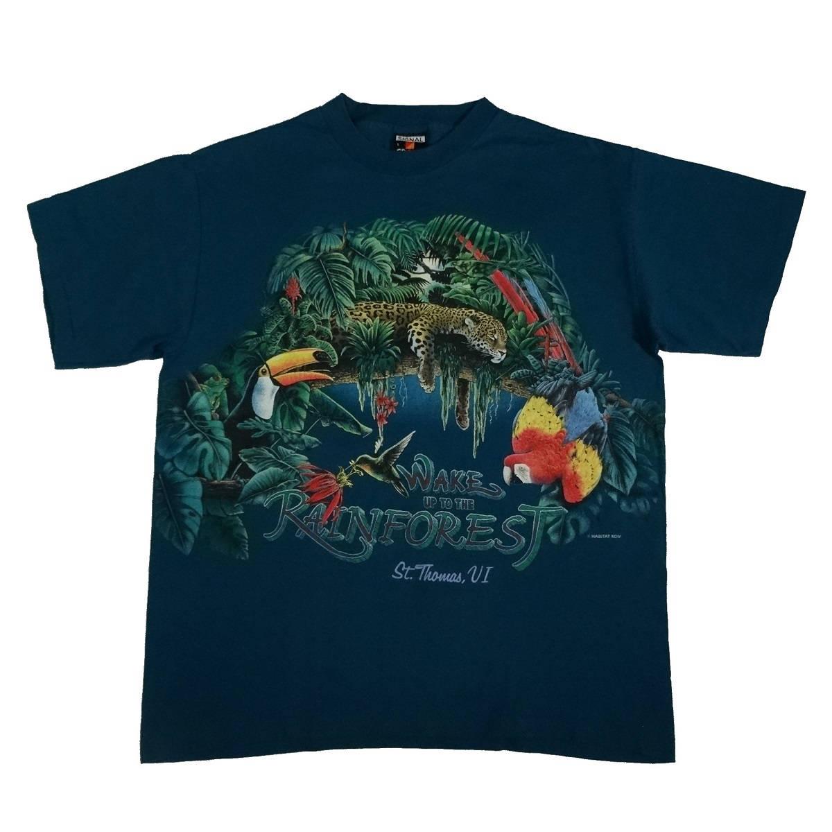 rainforest habitat vintage 90s t shirt front of shirt