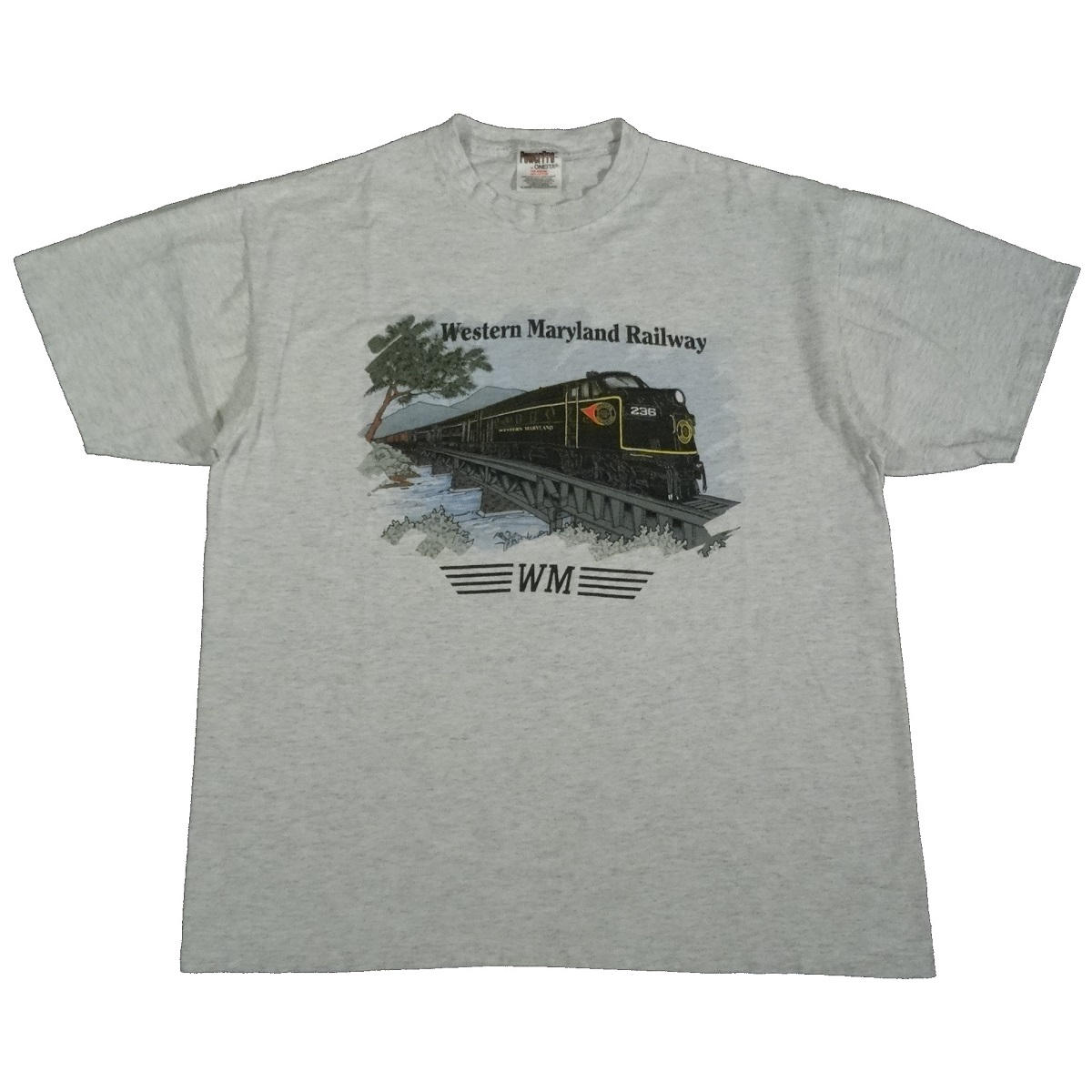 western maryland railway vintage t shirt front of shirt