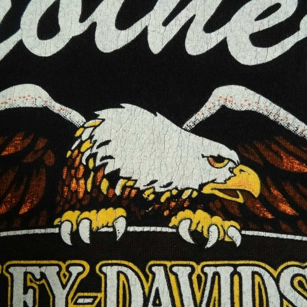 new haven ct harley davidson vintage 90s t shirt cracking back graphics