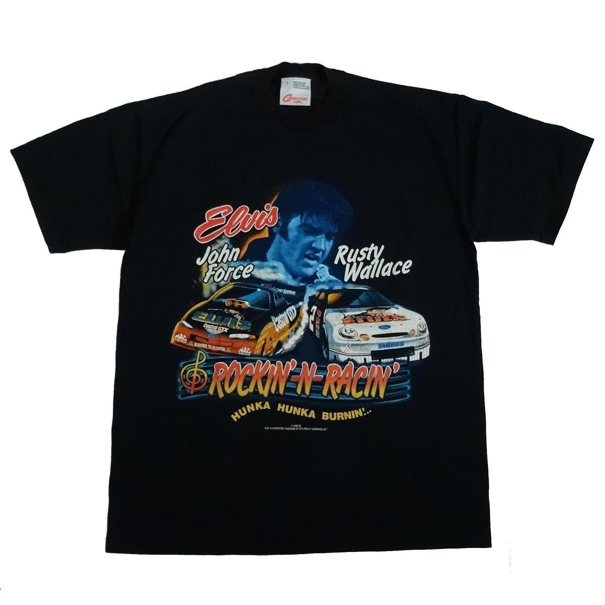 rusty wallace john force elvis vintage 90s t shirt front