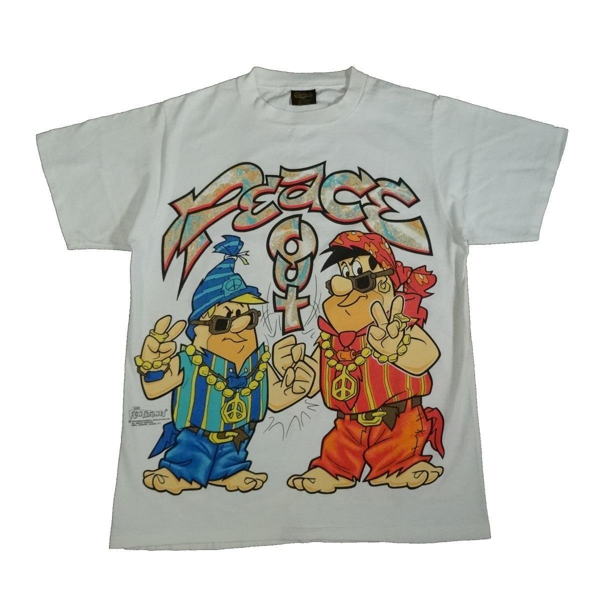 flintstones fred barney t shirt vintage 90s peace out front