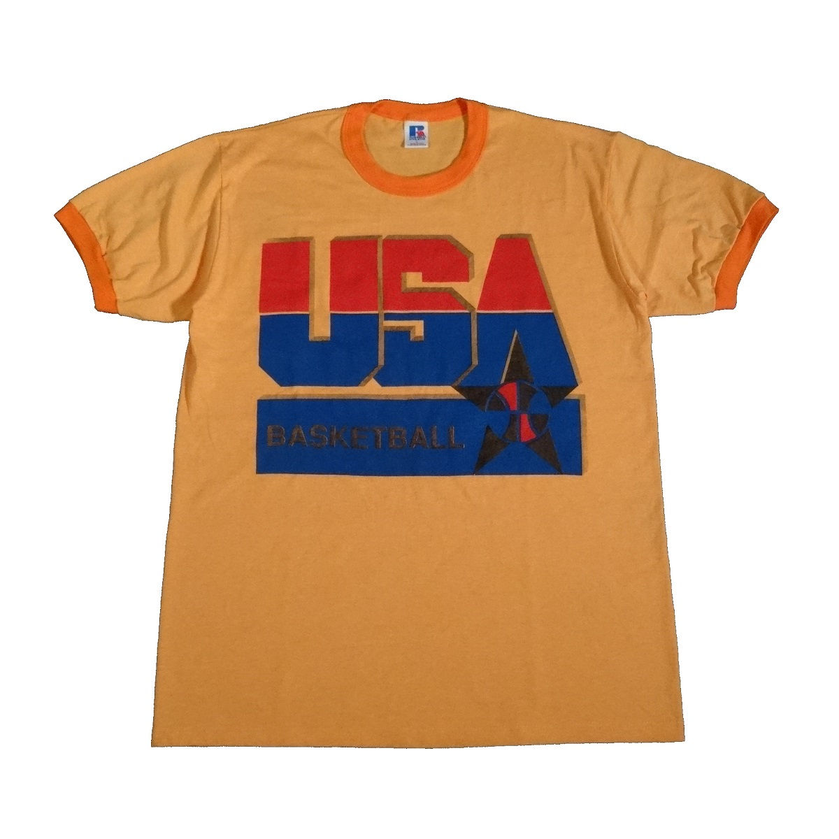 usa basketball vintage 90s rayon tri blend t shirt front