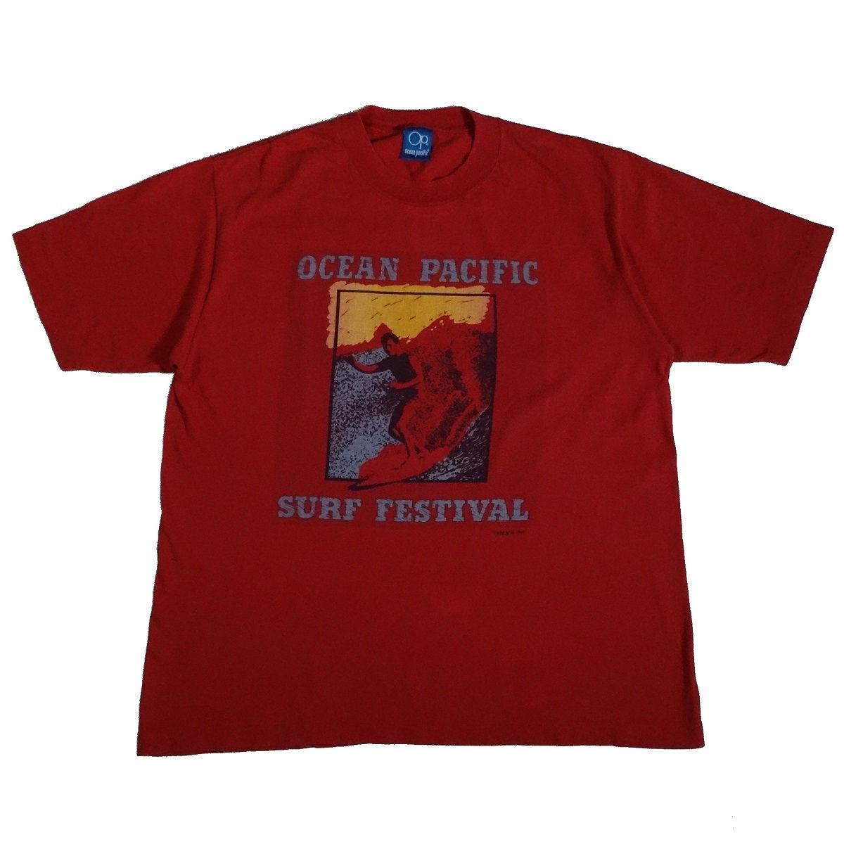ocean pacific vintage 80s t shirt surf festival front