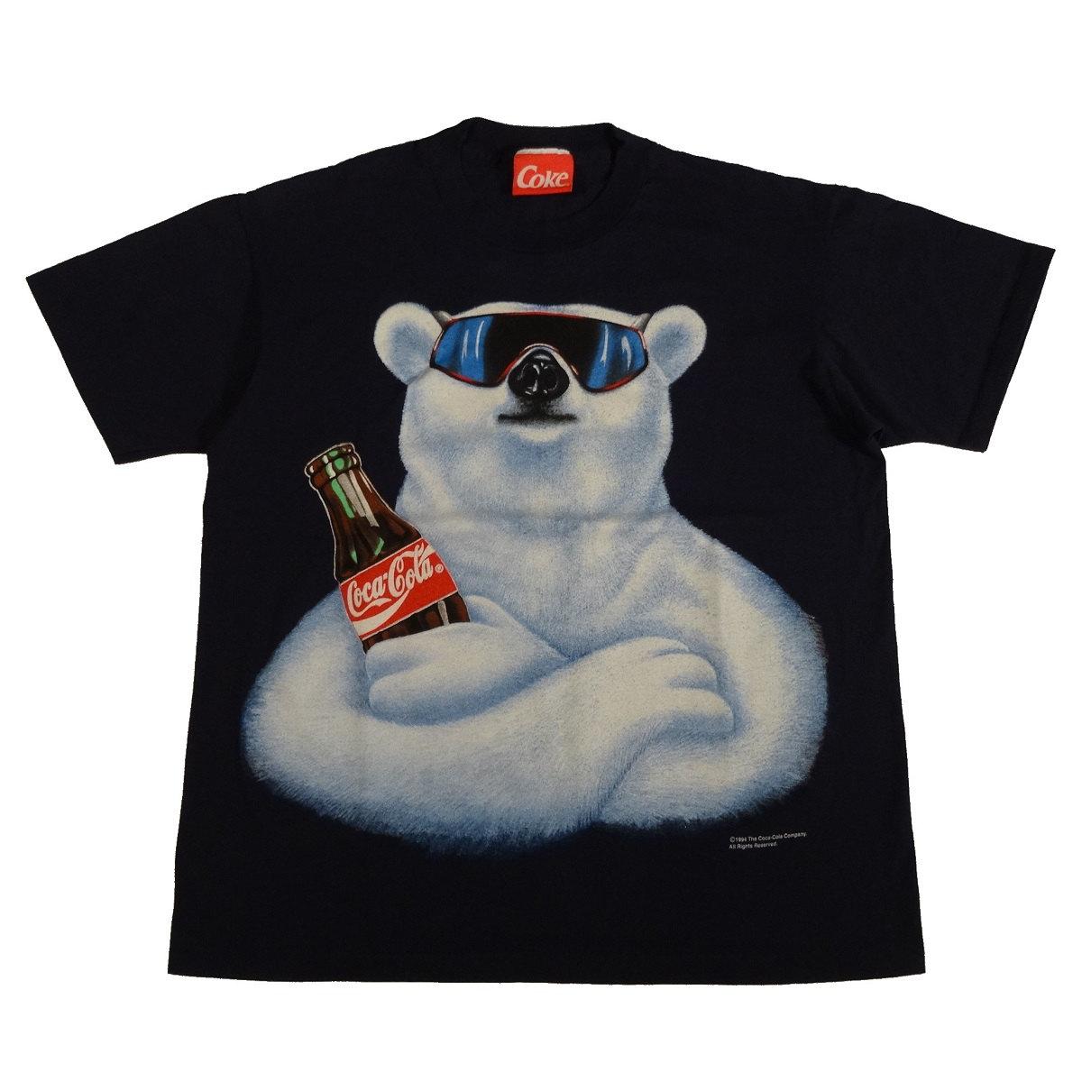 coca cola polar bear vintage 90s t shirt front