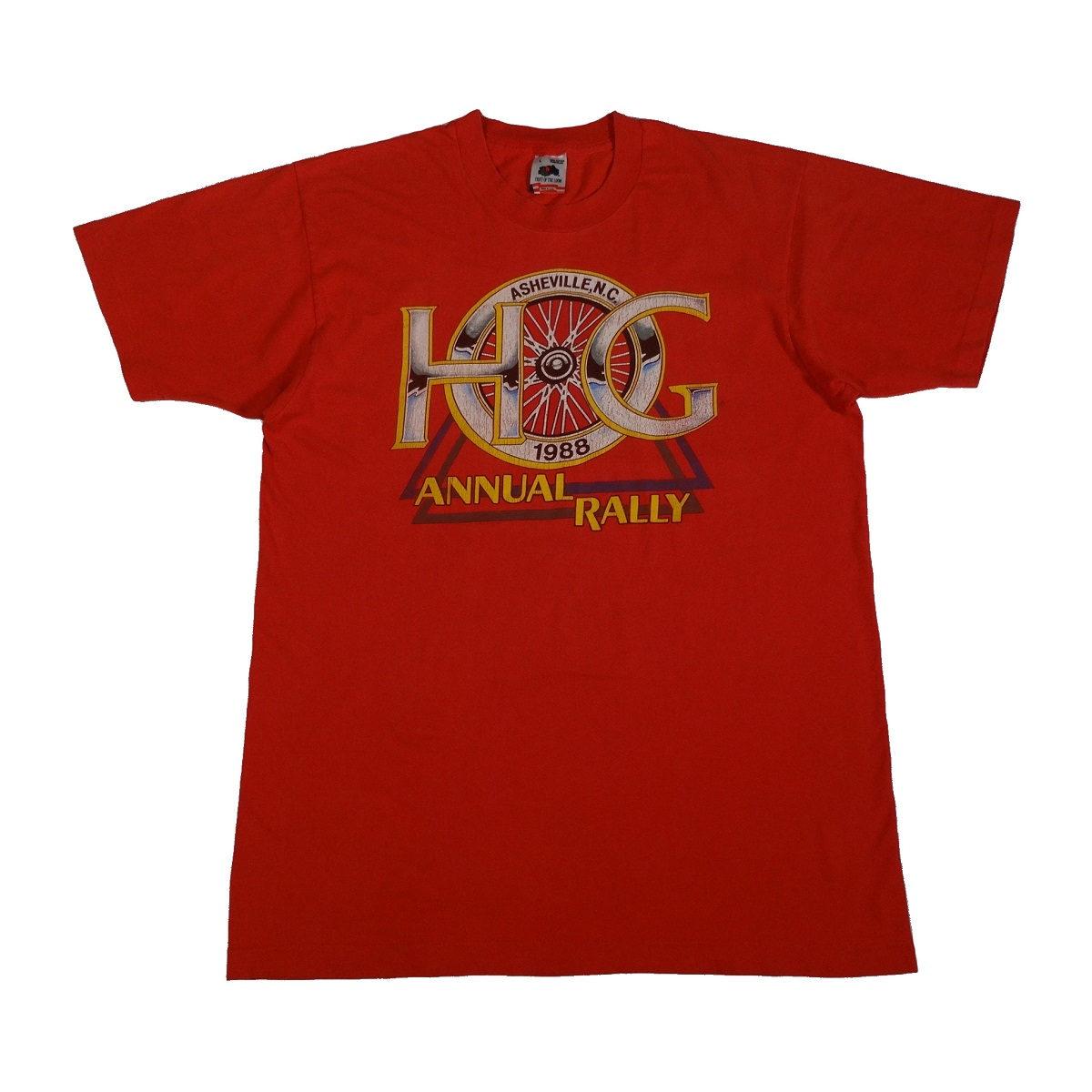 harley davidson owners group asheville vintage 80s t shirt front