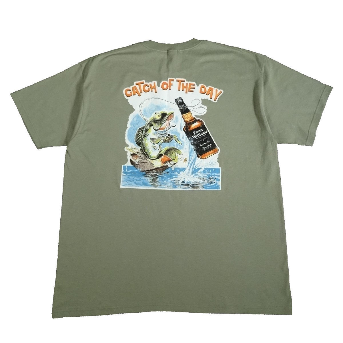 evan williams bourbon catch of the day vintage t shirt back